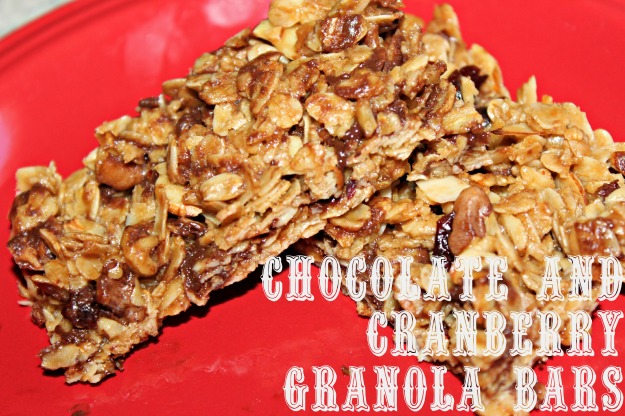 Chocolate, Cranberry Granola Bars